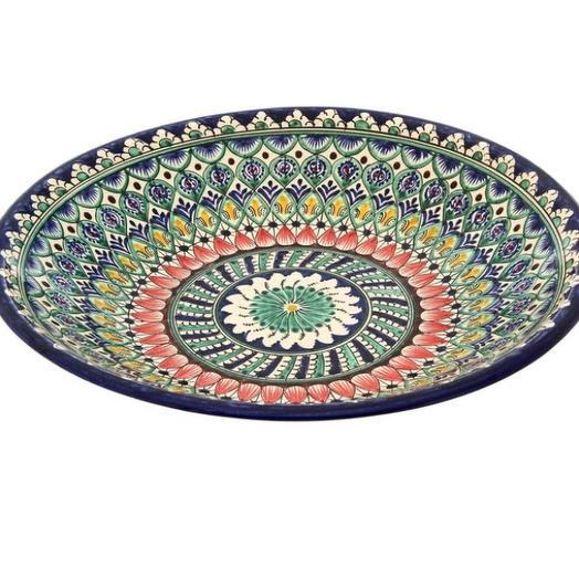 """Ляган круглый """"Риштан"""", 33 см красно - зелёный орнамент: букеты цветов на заказ Flowwow"""