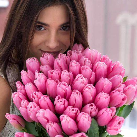 Букет розовых тюльпанов: букеты цветов на заказ Flowwow