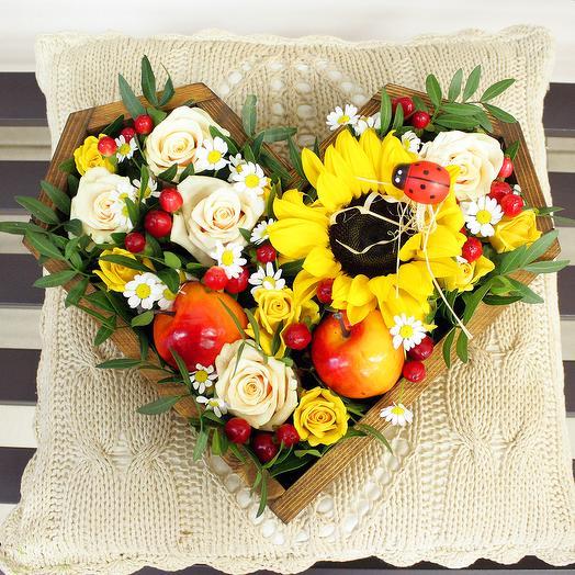 """Сердце """"Теплое лето"""": букеты цветов на заказ Flowwow"""
