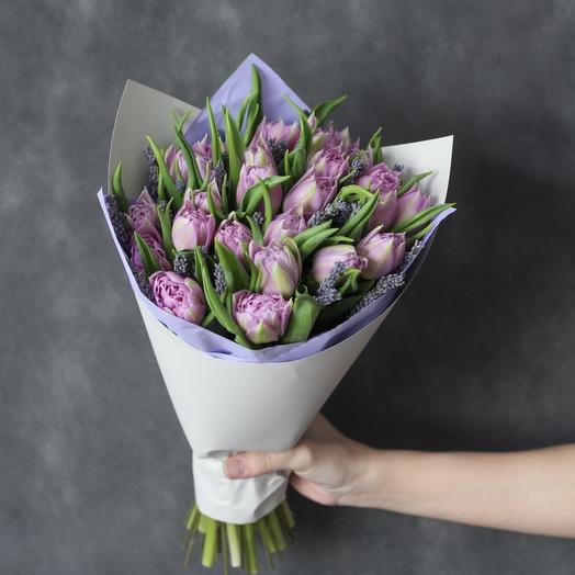Букет тюльпанов с лавандой: букеты цветов на заказ Flowwow