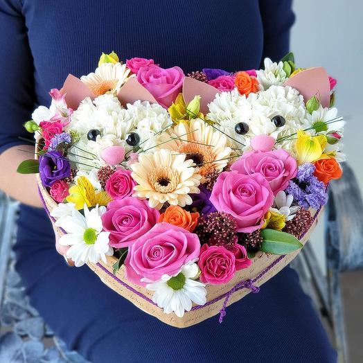 "Милая композиция из роз, гербер ""Два котенка"": букеты цветов на заказ Flowwow"