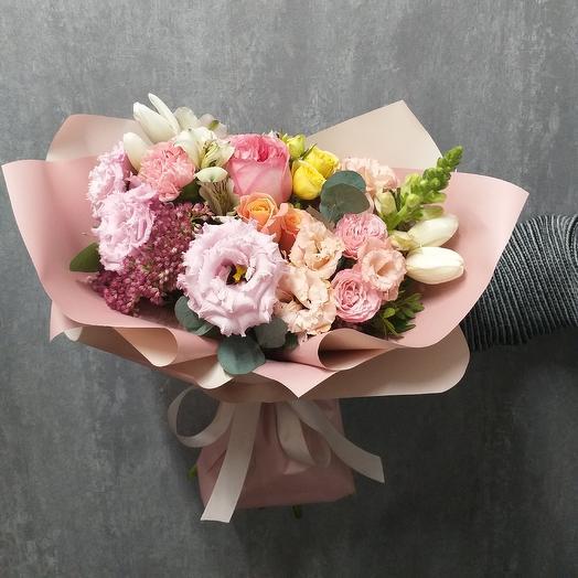 Букет с ароматными пионовидными розами: букеты цветов на заказ Flowwow