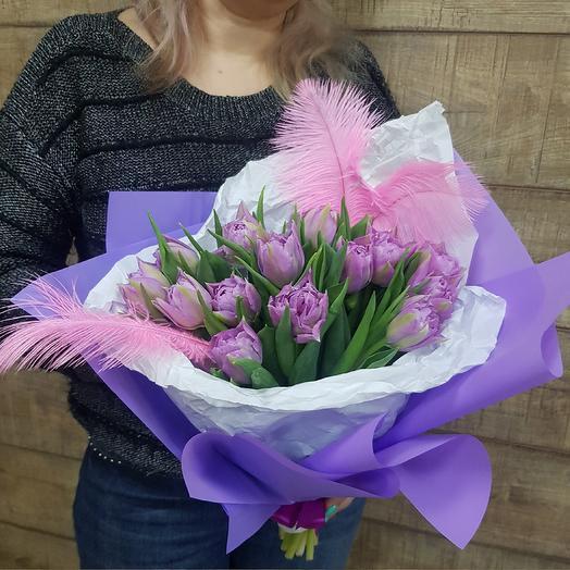 Пионовидные тюльпанчики в стильной упаковке: букеты цветов на заказ Flowwow