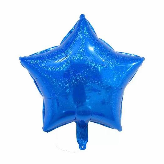 Rosalina - шар с гелием звезда голографическая синяя