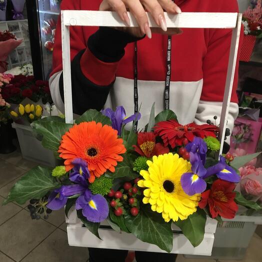Цветы в коробке ящике
