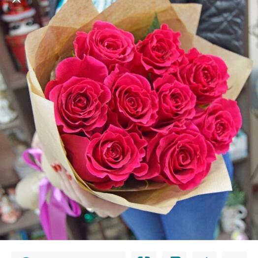 Розовые розы Премиум в крафте