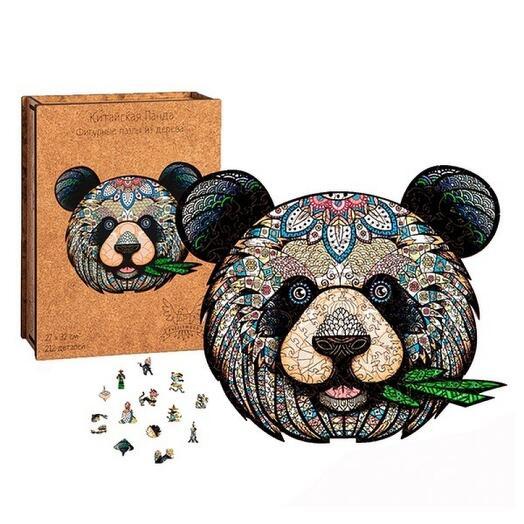 Фигурный деревянный пазл ручной работы Китайская панда