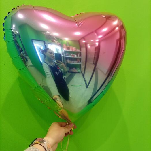 Фольгированный шар Сердце Радужное 46 см