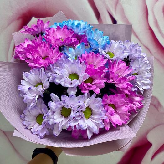 Букет Из цветных кустовых хризантем