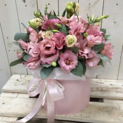 Эустома розовая в шляпной коробке