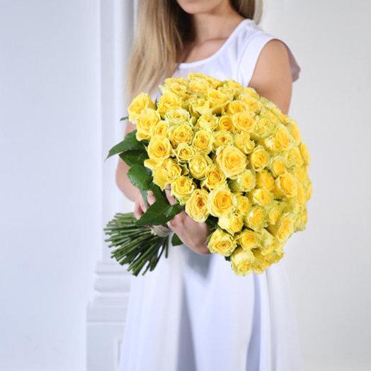 Букет из 101 желтой голландской розы 60 см: букеты цветов на заказ Flowwow