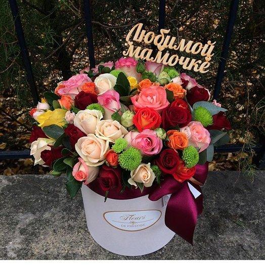Яркая композиция из роз: букеты цветов на заказ Flowwow