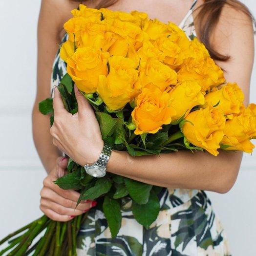 25 Желтых Эквадорских Роз 80см: букеты цветов на заказ Flowwow