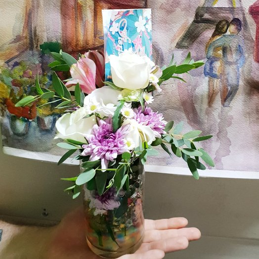 Ваза с комплиментом-букетом: букеты цветов на заказ Flowwow
