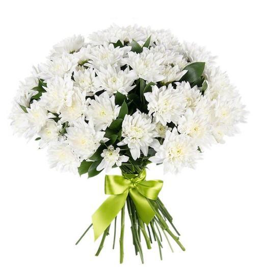 """Букет из 9 белых хризантем """"Балтика"""": букеты цветов на заказ Flowwow"""