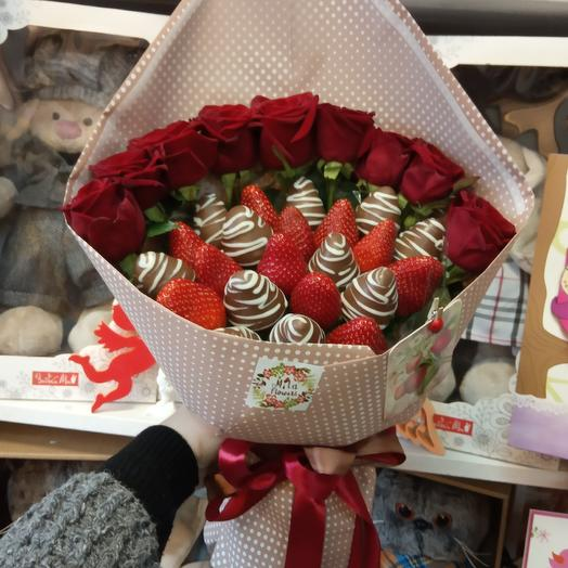 """Клубничный букетик """" Love"""": букеты цветов на заказ Flowwow"""