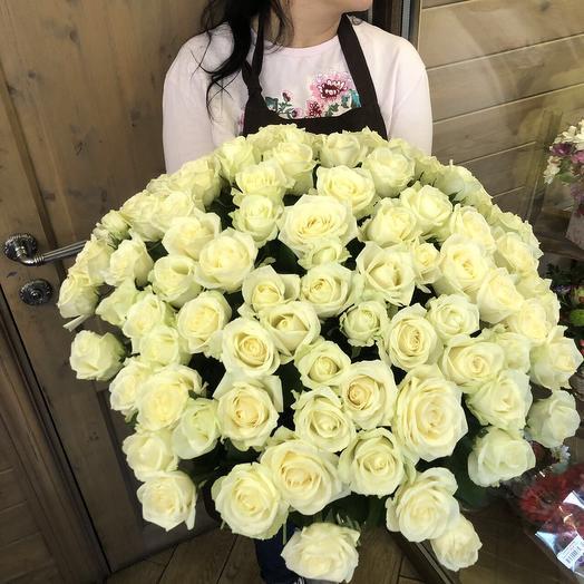 """Большой букет из белых роз """"101 белая розочка"""""""