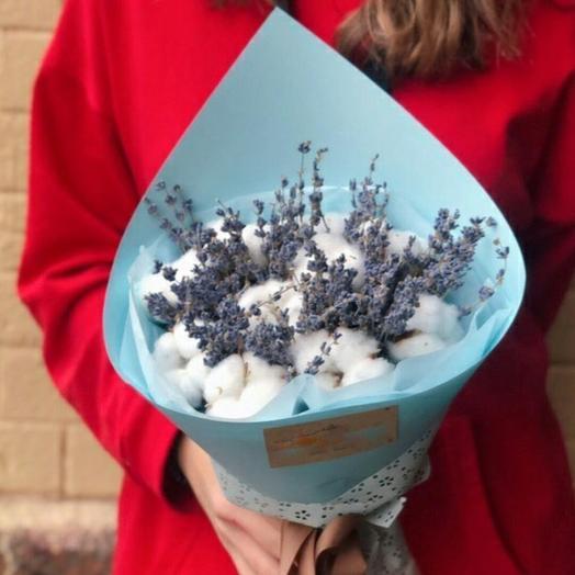 Букет сухоцветов из лаванды и хлопка