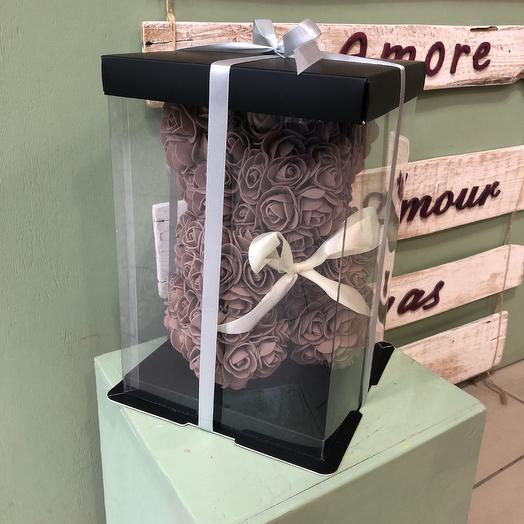 Мишка из роз кофе: букеты цветов на заказ Flowwow