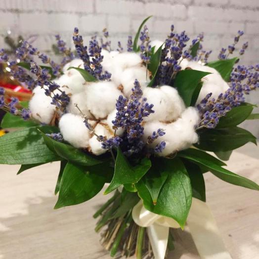 Лаванда и хлопок: букеты цветов на заказ Flowwow