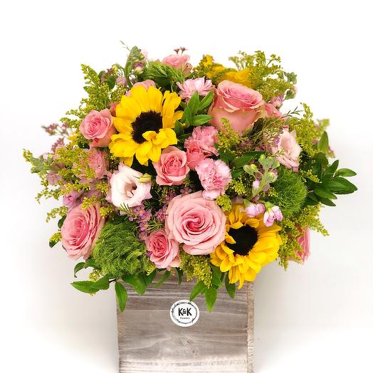 Tall Wood Box Bright 1: flowers to order Flowwow