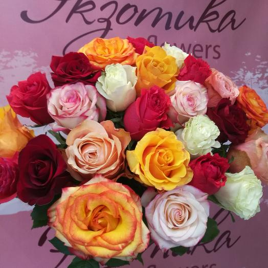 25 roses below the ribbon