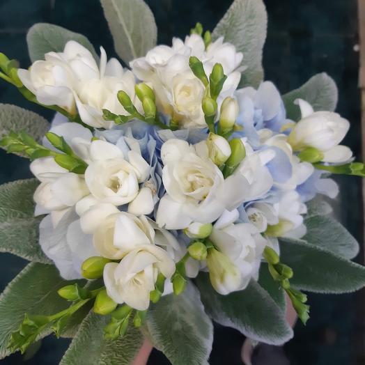 Мини букет из гортензии и фрезии: букеты цветов на заказ Flowwow