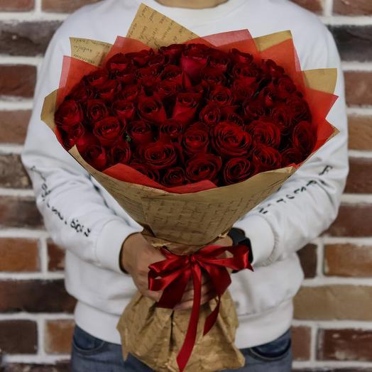 Букет из 51 красной розы (50 см). N708