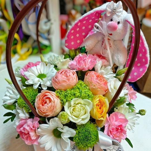 Цветы+Зайка(ручная работа)