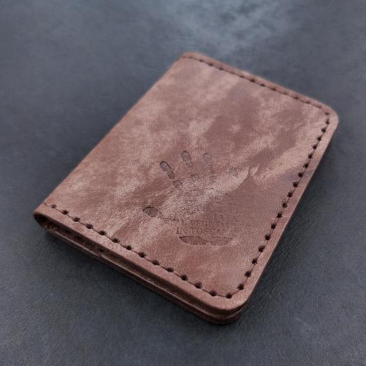 Мини-кошелёк ручной работы, визитница из кожи растительного дубления