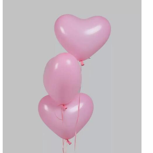Гелиевые шары  Розовые сердечки