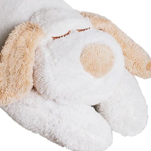 Махровый белый пёсик-подушка 90см