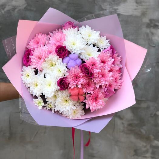 Букет Хризантем, Роз и Хлопка