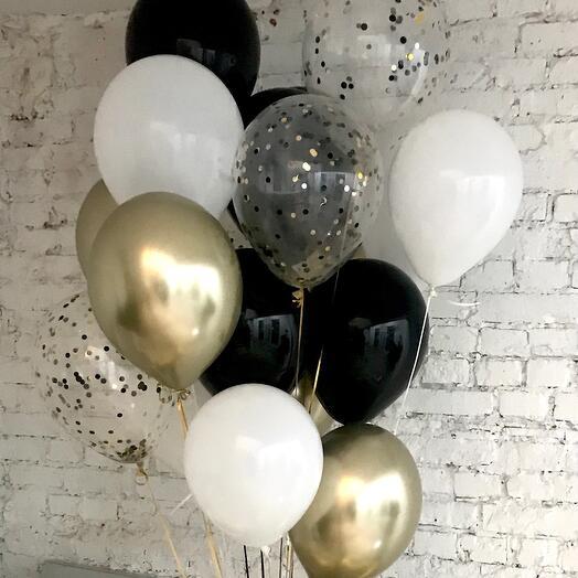 Чёрный, белый, золотой 20 шаров