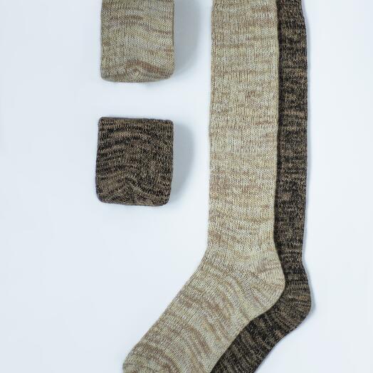 Набор из двух пар шерстяных гольфов «Песочный»