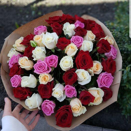 Букет из 51 микс Розы: букеты цветов на заказ Flowwow