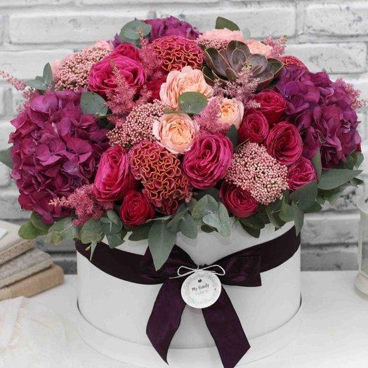 Цветы в коробке XL (40 см) 0586: букеты цветов на заказ Flowwow