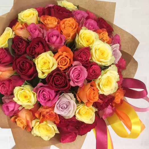 Букет из разноцветных роз: букеты цветов на заказ Flowwow