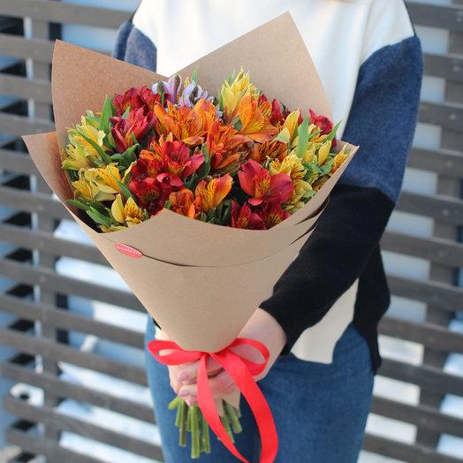 Букет разноцветной альстромерии (11шт.): букеты цветов на заказ Flowwow