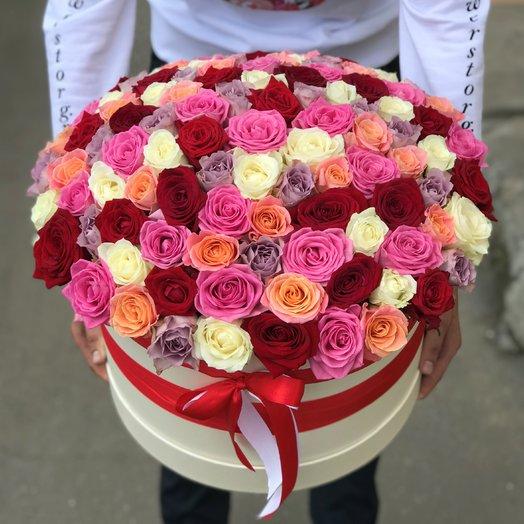 Коробки с цветами. Роза Микс. 101 роза. N208