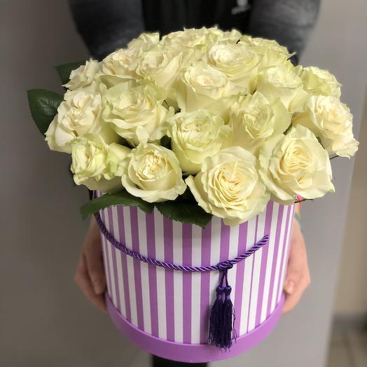 25 роз премиум в коробке: букеты цветов на заказ Flowwow