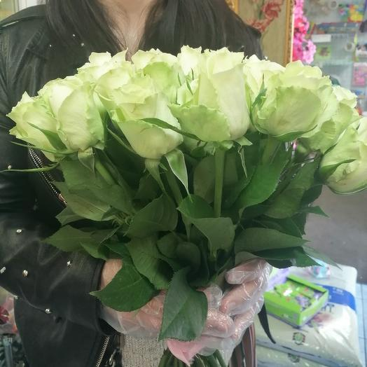 21 белая роза 50см