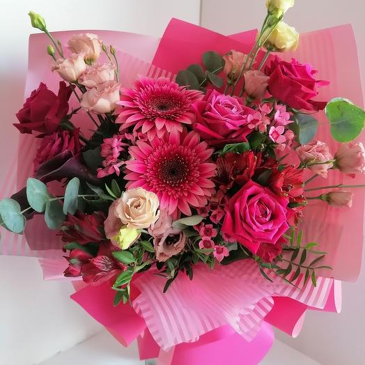 Pink palette (bouquet with gerberas, roses and calla lilies)