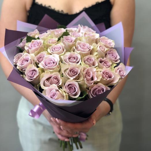35 лавандовых роз Премиум