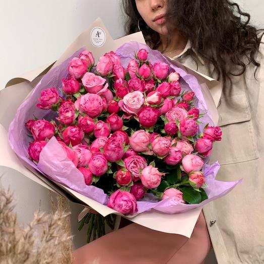 Bouquet of 21 bushy peony roses