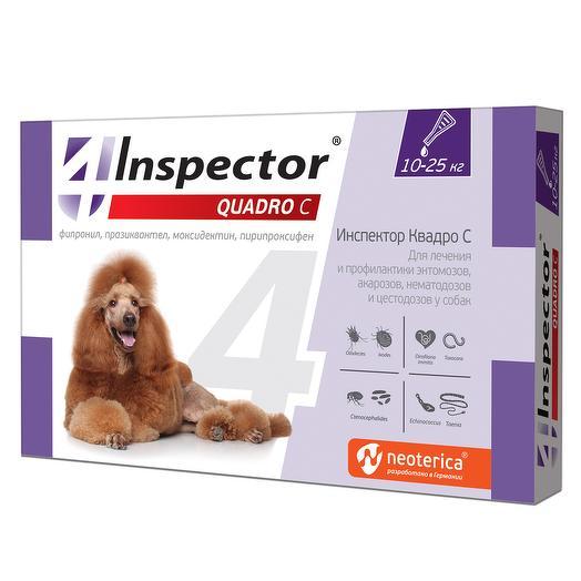 Инспектор Квадро капли от внешних и внутренних паразитов для собак 10-25кг