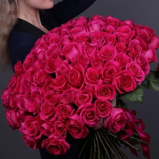 101 роза Пинк Флойд супер премиум 60 см