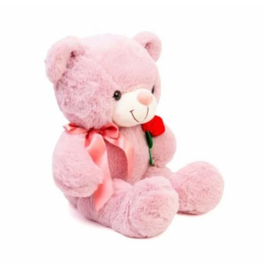 Нежно розовый Мишка с розочкой 🌸