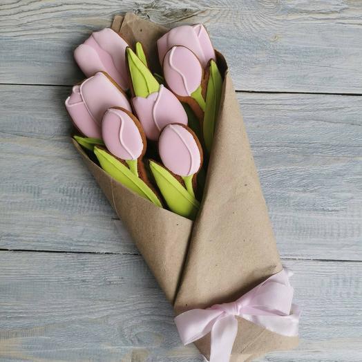 Пряничный букет из 7 тюльпанов