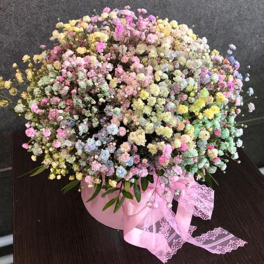 Цветы в коробке: радужная гипсофила, размер композиции М